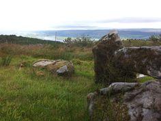 Tullygobbin tomb with views over Lough McNean at Cavan Burren Park, Blacklion, Cavan, Ireland