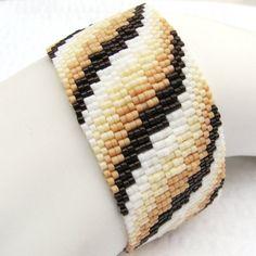 Coffee with Cream and Sugar Bargello Ribbon Peyote by SandFibers, $58.00