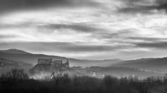 Magic morning at the castle Beckov - I was trying to have sunrise in the winter of this castle. This year no snow and no color in this landscape. That is the reasone for B&W Sunrise, Castle, Clouds, Snow, Magic, Mountains, Landscape, Winter, Nature