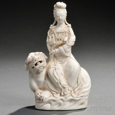 Blanc-de-Chine Guanyin Riding on a Foo Lion | Sale Number 2719B, Lot Number 65 | Skinner Auctioneers