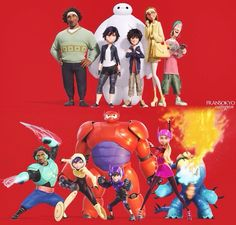 """Big Hero 6 <<< They're all looking at the camera in the bottom one for a good group shot and then Fred's just like """"FIRE!!!!"""""""