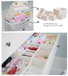 Organization- put it on the Ikea list! ... especially good for itsy bitsy baby things. Organizing Drawers, Clothes Drawer Organization, Organizing Baby Clothes, Ikea Drawer Dividers, Baby Clothes Storage, Drawer Storage, Organization Ideas, Organize Nursery, Nursery Storage
