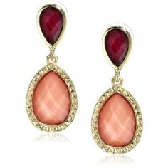 $48 Laundry By Shelli Segal Color Blocking Raspberry and Peach 2 Part Drop Earrings - designer shoes, handbags, jewelry, watches, and fashion accessories | endless.com