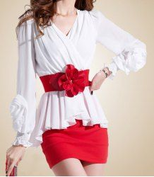 $10.06 Sexy Style Pleated V-Neck Long Sleeves Packet Buttock Chiffon Floral Belt Dress For Women