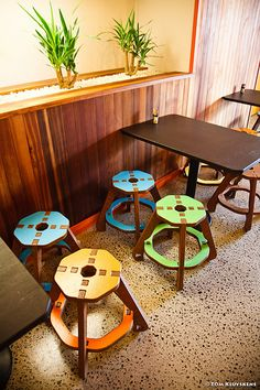 These distinctive stools @ La Boca Loca, Miramar in Wellington are from *made on jupiter*.