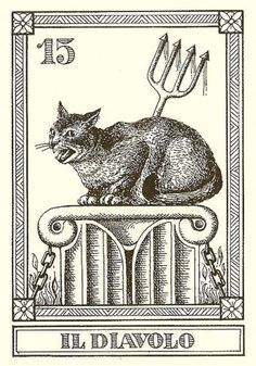 """Gatti Il Meneghello"", by Osvaldo Menegazzi. The deck of 22 tarot cards published in Italy in 1990."