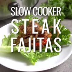 {VIDEO} 5-Ingredient Slow Cooker/Instant Pot Steak Fajitas (Low-Carb, Paleo, Whole30) - Fit Slow Cooker Queen Slow Cooker Fajitas, Slow Cooker Steak, Steak Fajita Recipe, Steak Fajitas, Fajita Seasoning, Whole30, Diets, New Recipes, Instant Pot