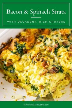 If you're looking for the perfect make ahead brunch recipe, you found it with this bacon, Gruyere and spinach strata that soaks overnight. This easy brunch recipe is always a crowd pleaser and so delicious! #stratarecipesovernight #stratarecipesbreakfast #spinachstrata #baconstrata Make Ahead Brunch Recipes, Delicious Breakfast Recipes, Vegan Recipes Easy, Cooking Recipes, Spinach Strata Recipe, Strata Recipes, Bubble Recipe, Incredible Recipes, Morning Food