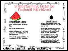 YoungTeacherLove: Writing seed vs. watermelon stories for personal narratives FREE poster!!!!