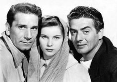 Richard Conte, Debra Paget and Victor Mature in Cry of the City. 1948