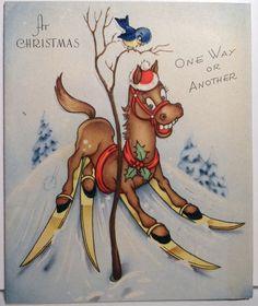 40s Old Nag Horse on Skis Vintage Christmas Card 1247 | eBay
