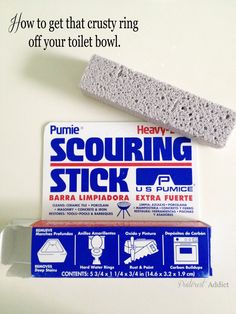 How to get rid of that tough toilet bowl ring Pumie Scouring Stick $1.88 @ Walmart  After seeing this on pinterest, I tried it personally.  We have hard water build up in our toilets and we have tried everything organically possible.  We have even tried chemical cleaners with no luck.  This Pumie Scouring Stick rocks!!!  It was so easy and our toilets look like new again. Toilet Stain Remover, Toilet Bowl Ring, Clean Toilet Ring, Clean Rings, Diy Cleaning Products, Household Cleaning Tips, Cleaning Solutions, Cleaning Hacks, Cleaning Recipes