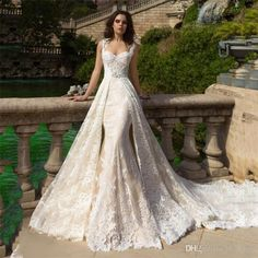 Luxury Full Lace Overskirts Mermaid Wedding Dresses With Detachable Train 2017 Berta Champagne Plus Size Country Beach Women Bridal Gowns 2017 Wedding Dresses Plus Size Wedding Dresses Arabic Wedding Dresses Online with $350.0/Piece on In_marry's Store | DHgate.com