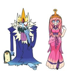 Adventure Time , Ice King & Princess Bubblegum by gashi-gashi