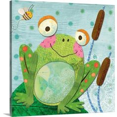 Springy Things - Frog Lori Siebert finds inspiration from her kids' drawings, an old quilt, or an offbeat piece of folk-art. Explore more of her Children's Art a Abstract Canvas, Canvas Wall Art, Canvas Prints, Abstract Print, Kids Canvas, Framed Prints, Painting For Kids, Art For Kids, Kid Art