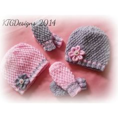 'Grace' is a knitting pattern to knit a pretty beanie hat and matching mittens for a baby girl. It is easy to knit in that you only need to know knit and purl stitches. The instructions to knit the flower are also included. This pattern can be knitted in four sizes -Prem Baby, Newborn, 0-3m & 3 - 6m For all four sizes you will need 50g double knitting yarn in you main colour and a small amount of contrast yarn. You can knit two sets in contrast colours with one 100g balls of pink and one…
