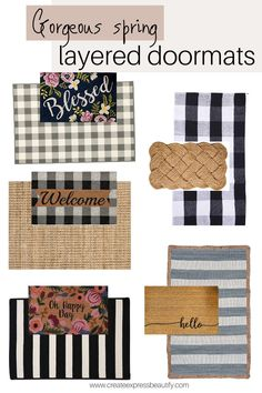 Wonderful selection of rugs and mats to create a beautiful layered look for your front porch. Front Door Rugs, Front Door Decor, Front Doors, Porch Mat, Porch Rugs, Small Porches, Front Porches, Nashville, Porch Doors