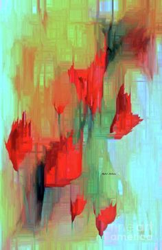 Abstract Red Flowers Painting by Rafael Salazar