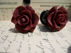 PlugsGaugesBurgandy Roses10g 8g 6g 4g 2g 0g by RefinedRubbishLLC, $24.00