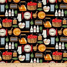 Farm To Table Kitchen Elements Black from @fabricdotcom  Designed by Danielle Murray for Blank Quilting, this cotton print fabric features everything you would find in a farmhouse kitchen, from tea kettles to graters to eggs! Perfect for quilting, apparel and home decor accents. Colors include black, rusted orange, red, shades of brown, cream, white and shades of grey.