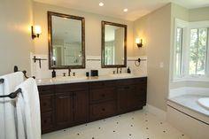 Black and White and Beige Master Bath Master Bath Vanity - traditional - bathroom - san francisco - Nunley Custom Homes