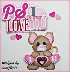 ELITE4U LOVE MICE paper pieced premade scrapbook page album die cut WOLFFEY5 #HANDMADE