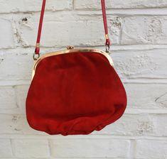 Red Leather Bag, Made In England. Black Magic Chocolates, Red Leather, Leather Bag, Vintage Wardrobe, Vintage Gifts, Bag Making, Leather Shoulder Bag, Color Blocking, Retro Fashion