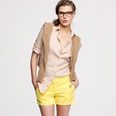 """J. Crew Highlighter Yellow Shorts 100% cotton J. Crew """"Chino Broke-In"""" shorts in popular highlighter yellow color. Shorts are in great condition, 2 very small marks on front of shorts as seen in picture 3, hardly noticeable. J. Crew Shorts"""