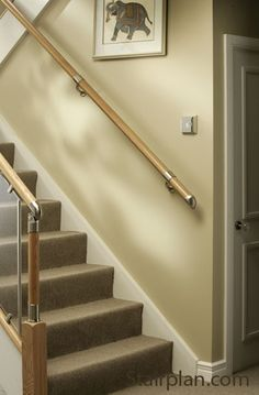 Richard Burbidge Fusion Boxed Handrail Kit - Pine With Brushed Nickel Connectors - - Pear Stairs Staircase Parts Oak Handrail, Staircase Handrail, Stair Railing, Staircase Design, Staircase Ideas, Open Staircase, Bannister Ideas, Staircase Makeover, Railing Ideas