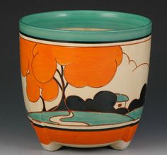 Clarice Cliff 'Orange Autumn' pattern jardinière, ca