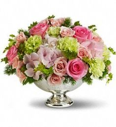 Order Teleflora's Garden Rhapsody Centerpiece from Simply Roses, your local Ormond Beach florist. Send Teleflora's Garden Rhapsody Centerpiece for fresh and fast flower delivery throughout Ormond Beach, FL area. Green Wedding Centerpieces, Wedding Reception Flowers, Floral Centerpieces, Floral Arrangements, Flower Arrangement, Wedding Colors, Bowl Centerpieces, Green Carnation, Pink Hydrangea