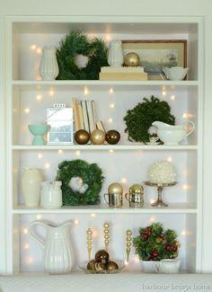 christmas bookcase decorating idea