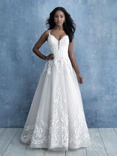 Shop the Allure Women Wedding Dress! This romantic A-line gown features a deep sweetheart neckline, a fitted bodice featuring lace appliques, and a full english net and sparkle tulle skirt. Bridal And Formal, Bridal Wedding Dresses, Wedding Dress Styles, Wedding Bride, Allure Bridesmaid, Bridesmaid Dresses, Fit And Flare Wedding Dress, Dressy Dresses, Bridal Boutique