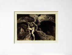 Inquiétude, gravure extraite du recueil De L'Encre, De L'Acide, De La Souffrance, 1900, eau-forte, 27,8 x 36,2 cm (feuille) et 13,8 x 20 cm (gravure), Musée Denys-Puech à Rodez.