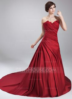 Quinceanera Dresses - $148.99 - Ball-Gown Scalloped Neck Chapel Train Satin Quinceanera Dress With Ruffle (021020668) http://jjshouse.com/Ball-Gown-Scalloped-Neck-Chapel-Train-Satin-Quinceanera-Dress-With-Ruffle-021020668-g20668