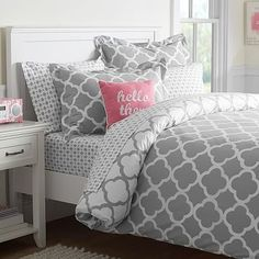 Lucky Clover Reversible Duvet Cover + Sham #pbteen its gorgeous in purple and white