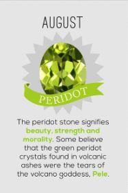 Peridot. Isn't it beautiful? It's my birthday stone.