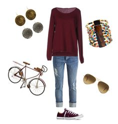 """""""Casual biking"""" by lzabari on Polyvore featuring Converse, Ray-Ban, Fred Perry, Dot & Bo, women's clothing, women, female, woman, misses and juniors"""