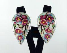 Sakura Flower, Sakura, Cherry Blossom. Earring. Cloisonne enamel. Jewelry, sterling silver. Weight 13 grams