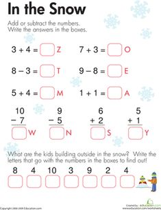 Printables Addition And Subtraction Worksheets For First Grade adding and subtracting worksheets printable first grade math winter addition subtraction whats the word