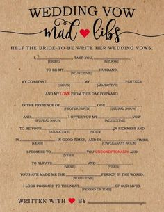 Do you love Mad Libs? This unique bridal shower game has the guests writing the bride-to-be's vows in the most hilarious of ways. A funny bridal shower game that is sure to keep your guests laughing! Couple Shower Games, Fun Bridal Shower Games, Bridal Shower Planning, Printable Bridal Shower Games, Bridal Shower Cakes, Bridal Showers, Bridal Shower Question Game, Bridal Party Games, Hen Party Games