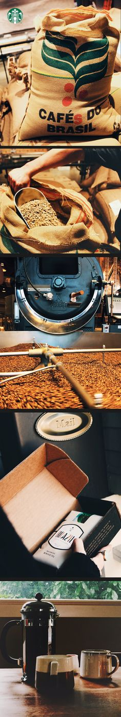 We roast all our Starbucks Reserve coffees at our Roastery in Seattle, then ship them to your door within 48 hours! Coffee Cozy, I Love Coffee, Coffee Shop, Starbucks Reserve, Coffee Infographic, Coffee Crafts, Coffee Roasting, Starbucks Coffee, Coffee Recipes