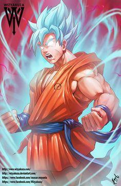 Goku - Super Saiyan azul Kaio-Ken - Dragon Ball Z - impresión Digital de 11 x 17