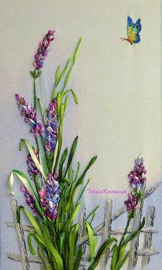 Embroidered picture Lavender Silk ribbon