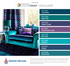 I Found These Colors With Colorsnap Visualizer For Iphone By Sherwin Williams Loyal Blue Sw 6510 Maxi Teal 6769 Valiant Violet 6818