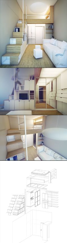 This is probably the best example - where the loft would extend over the shed - not too much headroom and giant stairs rather than a ladder. Making good use of the space under the stairs.