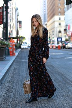 Maxi Dress Dark Flower Print Blogger Street Style