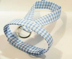 Small dog harness velcro close Blue gingham1 by ParkAvenueDogs