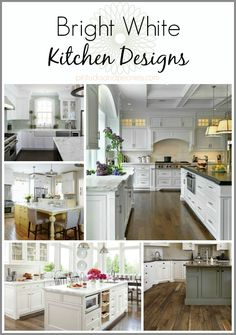 Looking for inspiration for a bright, white kitchen remodel? Check out these pics of white shaker cabinets, quartz countertops, dark hardwood floors and white and grey backsplashes.