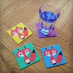 Fox coaster set perler beads by Thea IMYBY